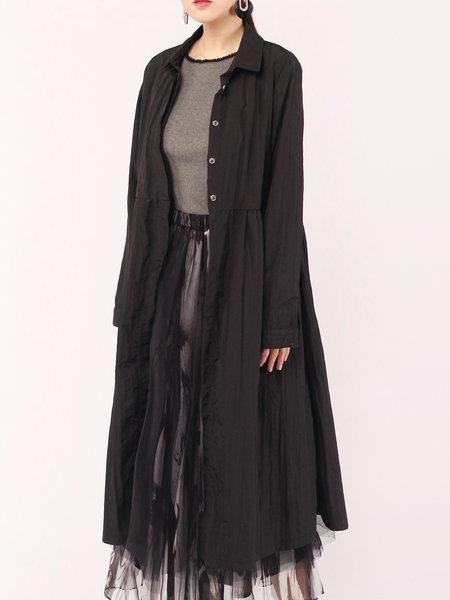 Black Buttoned Shirt Collar Simple Coat