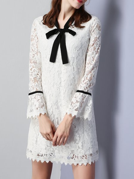 Girly Bow Lace Long Sleeve A-line Mini Dress