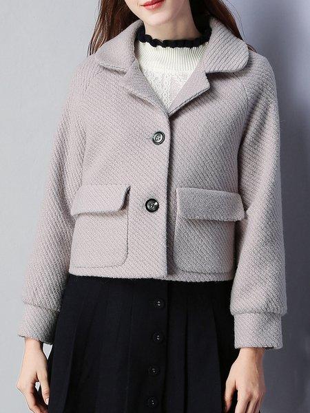 Purple Ribbed Plain Long Sleeve Coat