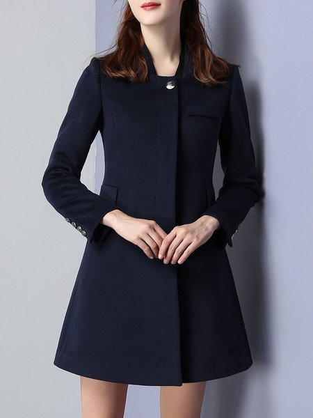 Simple Long Sleeve A-line Solid Coat