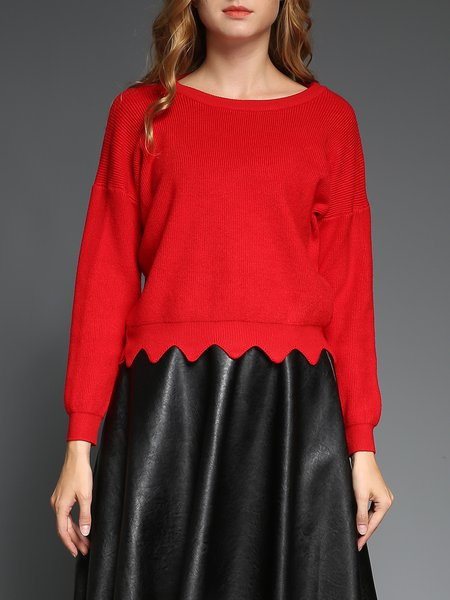 Red Long Sleeve Knitted Wool Blend Sweater