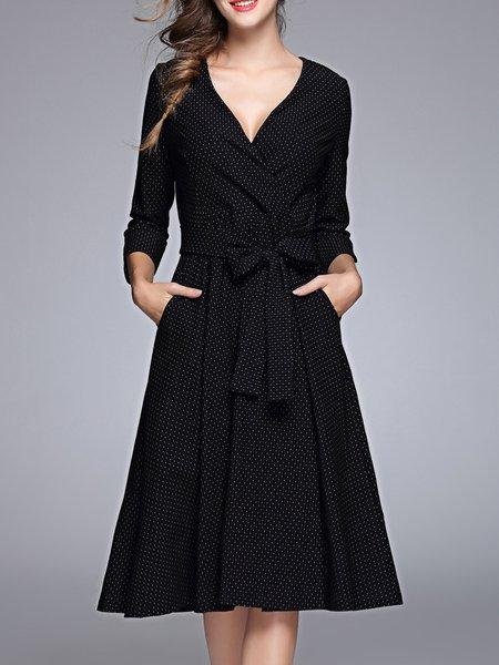 A-line Polka Dots Casual 3/4 Sleeve Wrap Dress
