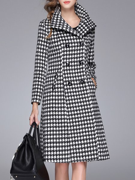 Black-white Long Sleeve Lapel Houndstooth Coat