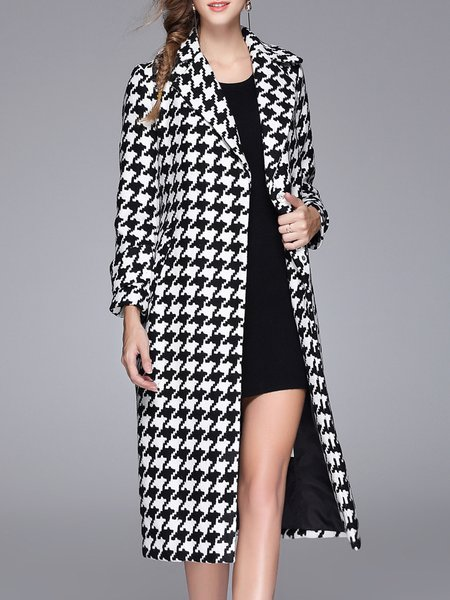 A-line Casual Houndstooth Printed Long Sleeve Coat with Belt