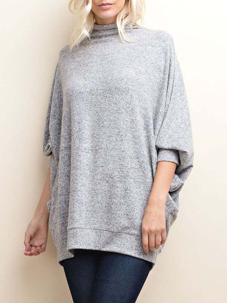 Gray Mock Neck Wide Dolman Sleeve Tunic