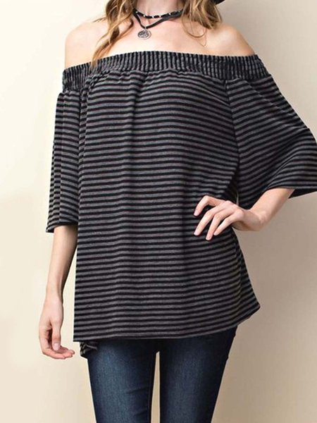 Black Half Sleeve Stripes Off Shoulder Bow-tied Tunic