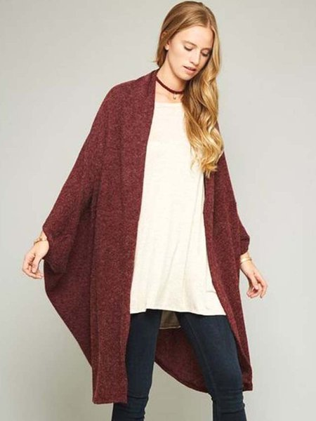 Burgundy Brushed Plain Cocoon Batwing Cardigan