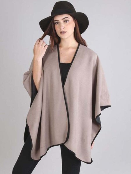 Coffee Reversible Batwing Cape
