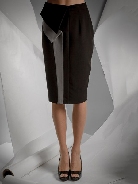 Black Sheath Georgette Asymmetric Elegant Pencil Skirt