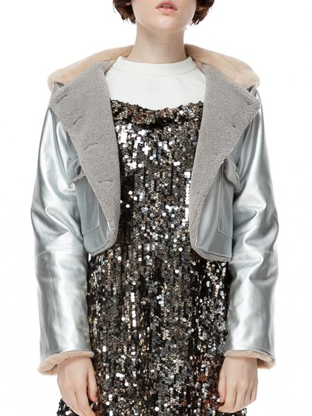 Silver Hoodie PU Pockets Long Sleeve Cropped Jacket