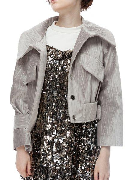 Pockets H-line Long Sleeve Velvet Cropped Jacket
