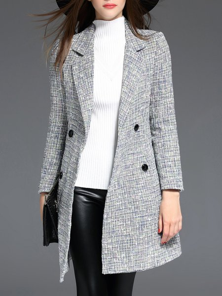 Gray A-line Long Sleeve Double Breasted Coat