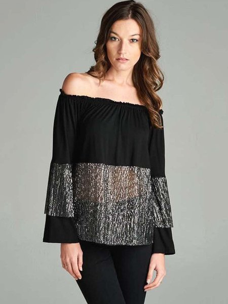 Black Metallic Off Shoulder Paneled Long Sleeved Top