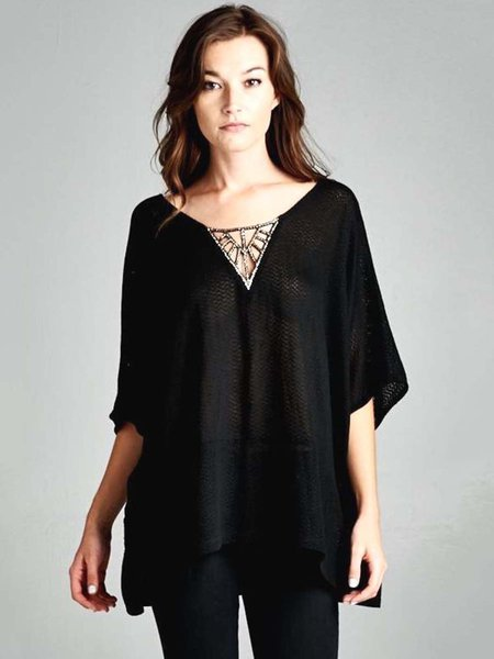 Black Sparkle Front Half Sleeve Shift Plain Tunic