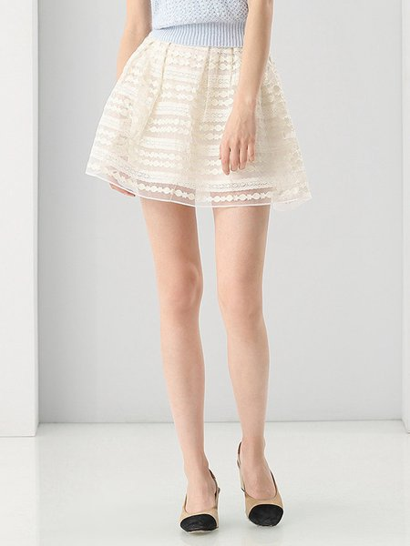 Shirred Casual A-line Mini Skirt