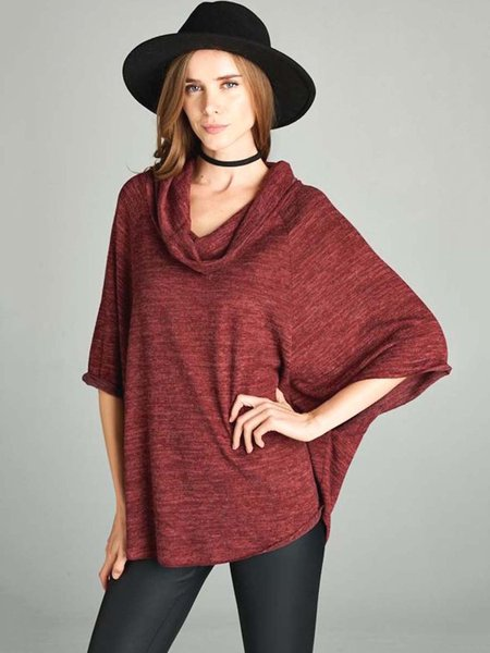Burgundy Cowl Neck Plain Shift Batwing Tunic