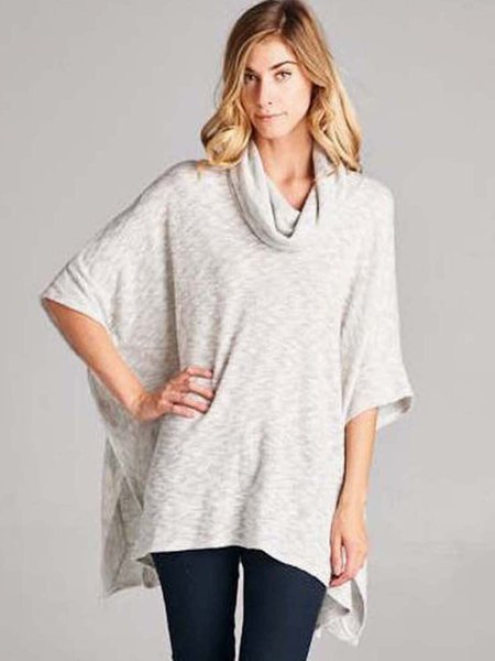 Light Gray Cowl Neck Batwing Loose Tunic