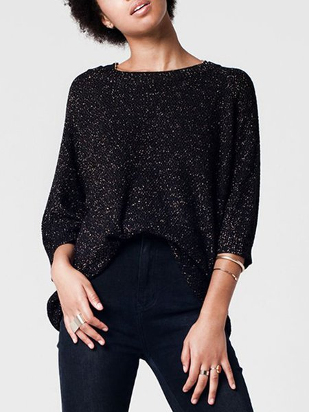 Black Knitted Batwing Sweater