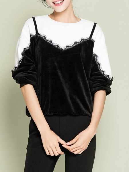 Black Crew Neck Velvet Paneled Lace Long Sleeved Top