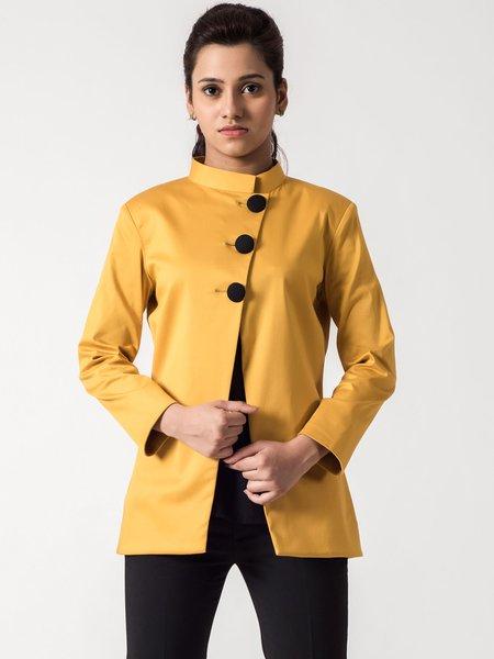 Multicolor Satin Elegant Buttoned Coat