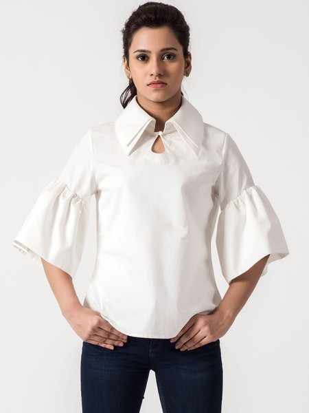 White Stand Collar Broad Sleeve Blouse