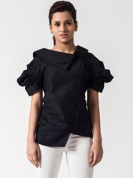 Black Satin Solid Short Sleeve Shirred Blouse