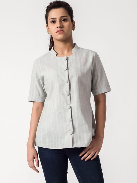 Gray Shorts Sleeve Buttoned Stand Collar Blouse