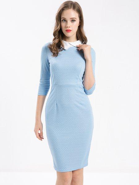 Light Blue Slit Sheath Elegant Polyester Midi Dress