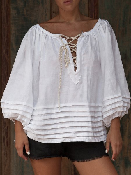 White Balloon Sleeve Plain Lace Up Linen Blouse