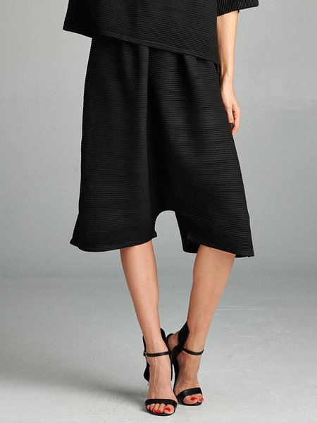 Black Ribbed Polyester Casual Plain Culottes Pants