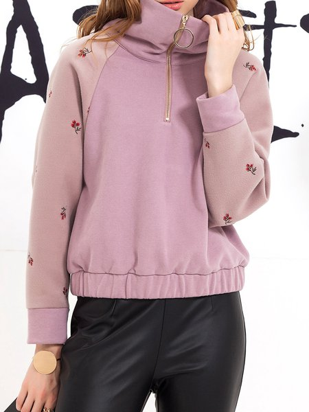 Casual Long Sleeve Lapel Sweatshirt