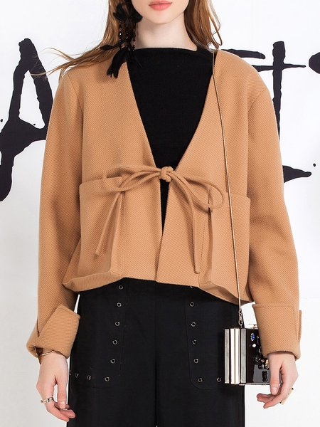 Khaki Long Sleeve Pockets Simple Solid Cropped Jacket