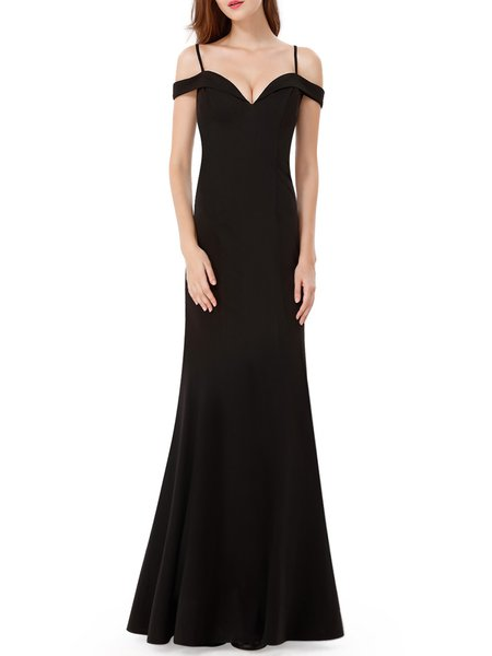 Black Spaghetti Sweetheart Solid Evening Dress