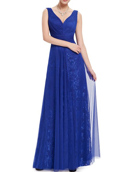 Blue Ruched Sleeveless V Neck Swing Evening Dress