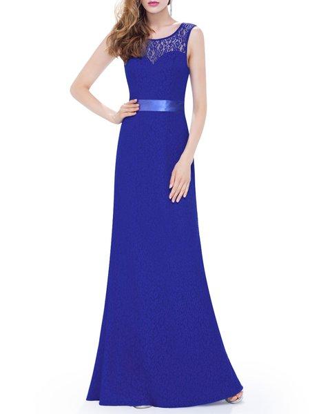 Blue Bow A-line Sleeveless Lace Evening Dress