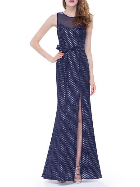 Dark Blue Cutout Crew Neck Polka Dots Elegant Evening Dress