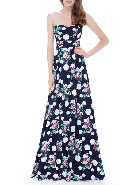 Navy Blue Polyester Polka Dots Sleeveless Floral-print Evening ...
