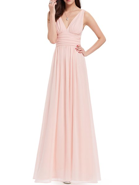 Ruched Sleeveless Swing V Neck Evening Dress