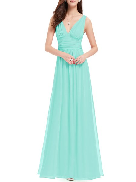 Light Green Swing V Neck Plain Sleeveless Evening Dress