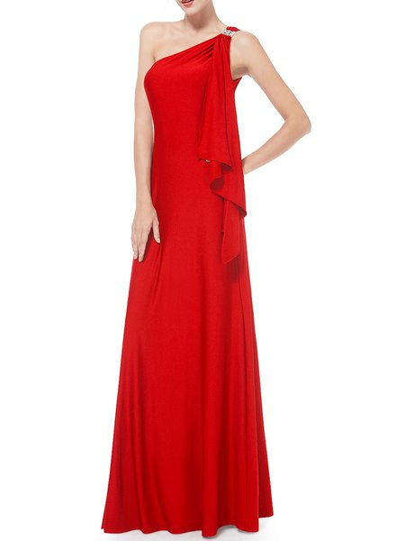Red Ruffled Elegant One Shoulder Evening Dress