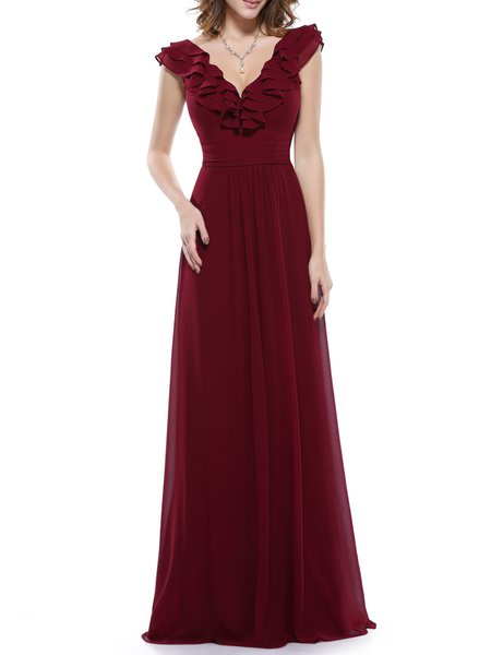 Burgundy Ruffled Sleeveless Pluning Neck Evening Dress