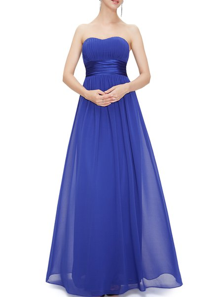 Ruched Strapless Swing Elegant Evening Dress