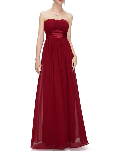Ruched Strapless Elegant Evening Dress
