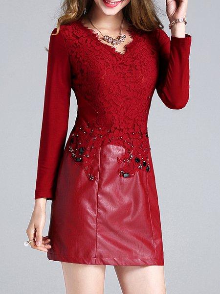 Burgundy Sheath V Neck Elegant Mini Dress