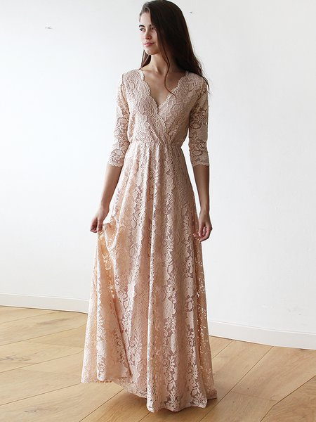 Pink Lace Plunging Neck 3/4 Sleeve Elegant Evening Dress