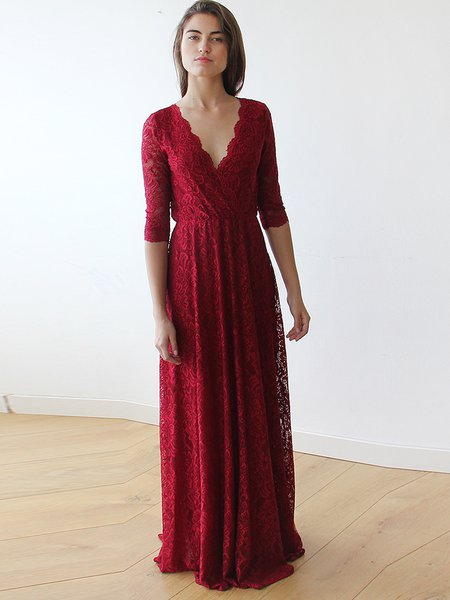 Burgundy Crocheted Lace 3/4 Sleeve Evening Dress