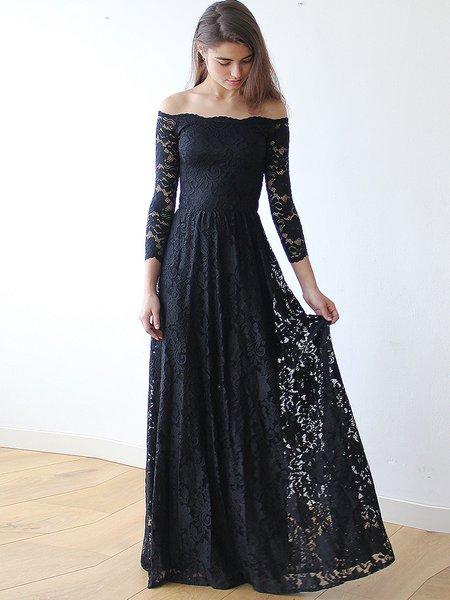 Black Off Shoulder Elegant Lace Evening Dress