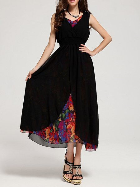 Black Swing Casual V Neck Paneled Print Maxi Dress