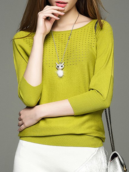 Knitted Basic Batwing Pierced Sweater