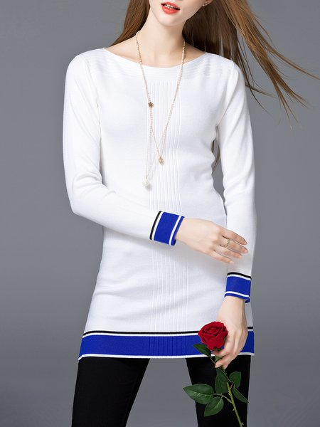 White Knitted Long Sleeve Color-block Tunic
